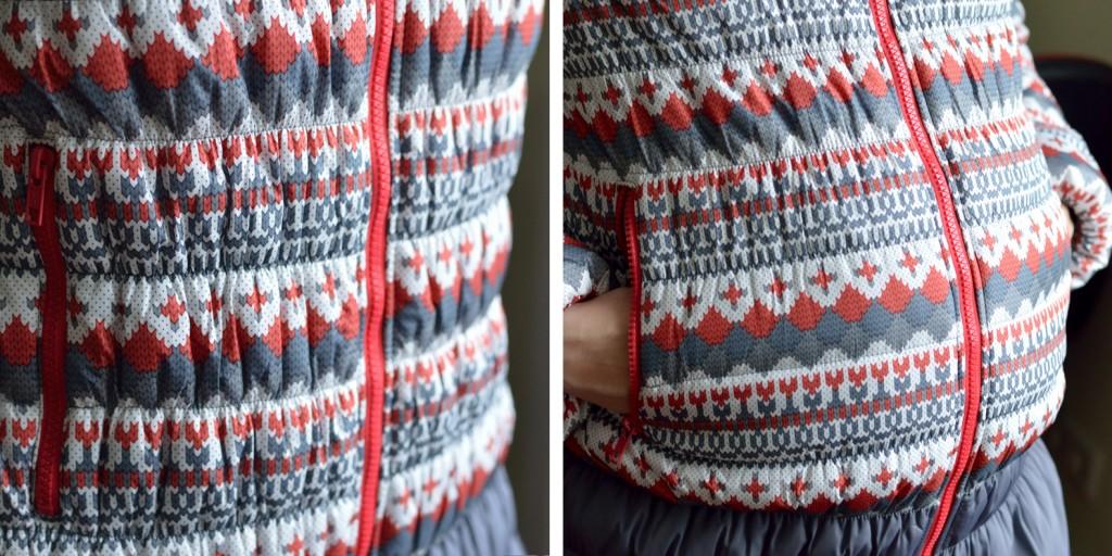 Горизонтальная стежка в куртке для беременных Санта